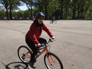 Learning to ride in Van Cortlandt Park!